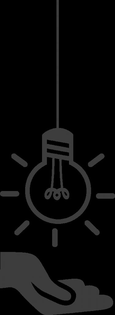 dessin d'une main surplombée d'une ampoule symbolisant la transmission d'une idée